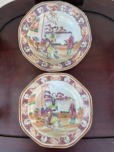 Pair Chinese porcelain plates