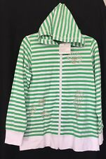 NWT Quacker Factory Green White Striped Zip Up Hoodie Sz S Seahorse Seashell