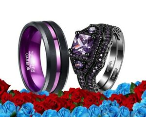 His Tungsten And Her Cz Purple Black Plated bridal engagement Wedding Ring Set