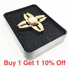 Gold Quad Fidget Hand Spinner Metal Aluminum Toy Finger EDC ADHD Anxiety Stress