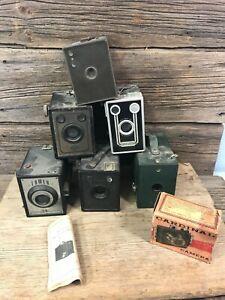 Lot of 6 Vintage Brownie Box Camera Kodak Hawk-Eye AGFA Zenith parts / repair