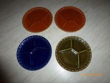 "4 Stück Menueteller, Grillteller, Menüteller Farbe braun, grün blau ""Porzellan"""