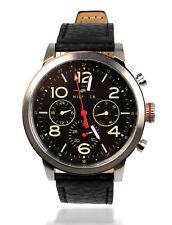 TOMMY HILFIGER Herren Armbanduhr Uhr Edelstahl Silber Leder Schwarz 1791232
