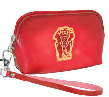 Leather Wristlet Change/Coin Purse,Red Elephant Pattern, Lovely and Unique