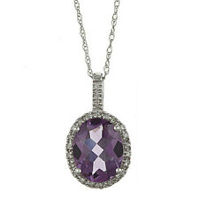 10k White Gold 3.6cttw Oval Amethyst and Diamond Pendant Necklace