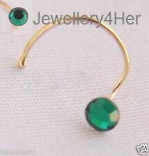 9ct oro 3mm Redondo Plano Oscuro Verde Esmeralda Cristal doblar alambre para Nariz Pin Regalo