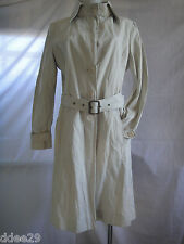 Witchery Beige, Belted Cotton Long Trench Coat Size 12 Fabric Made in Italy