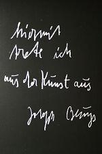 """JOSEPH BEUYS:""""hiermit trete ich aus der Kunst aus"""" Originalgrafik KPK"""