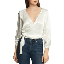 1.State Womens Ivory Cropped V-Neck Dressy Wrap Top Blouse M BHFO 6466