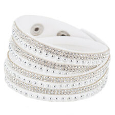 Crystal Wristband Bangle Wrap Bracelet Rhinestone Multilayer Cuff Punk Leather