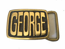 Vintage George Name Belt Buckle Men's Western Solid Brass Gift Idea Gold First