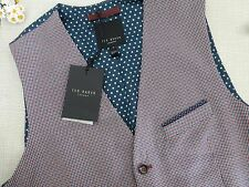 BNWT Ted Baker Red Blue Chivwai Check Pattern Waistcoat size 3 M