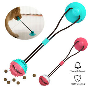 Dog Rope Ball Pull Toy with Suction Cup Chew Tug Toys Aggressive Food Dispenser