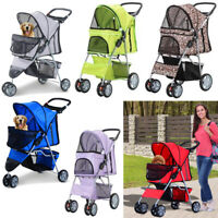 Dog Stroller Puppy Pram Pet Buggy Pushchair Carrier Folding Cart Animal Basket
