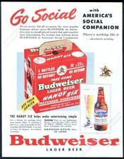 1950 Budweiser Beer bottle six pack carton color pic vintage print ad