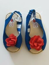 Janie And Jack Sandals Blue And Red Flower Sz 4