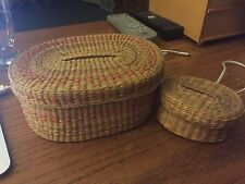 Lot of 2 Vintage covered baskets, mint, wheat, straw