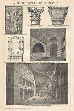 B0052 Arte Paleocristiana - Xilografia d'epoca - 1901 Vintage engraving