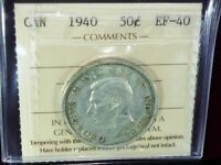 1940  ICCS GRADED COIN CANADA 50 CENTS (SILVER)
