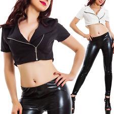 Giacca donna corta coprispalle bolero maniche corte zip cerniera sexy VB-10085