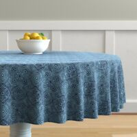 Round Tablecloth Wordly Mexican Mexico Tribal Blue Jean Monochrome Cotton Sateen