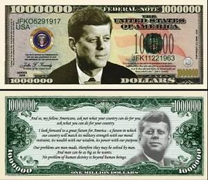 JFK John F Kennedy Million Dollar Bill Play Funny Money Novelty Note +FREE SLEEV