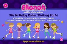 Personalised Birthday Invitations Roller Skating Party x 5
