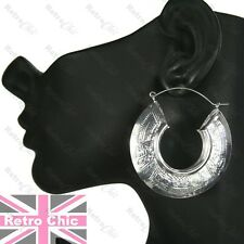 RETRO tribal CREOLE aztec SILVER FASHION big 5.5cm bamboo HOOPS hoop earrings