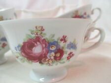 Vintage Poland Favolina porcelain footed Coffee Cup pink Roses flowers FAV2