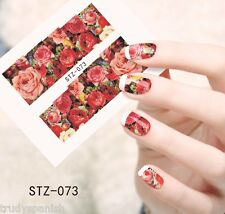 Nail Art Water Decals Wraps Pink Red Vintage Floral Roses Flowers Gel Polish 073
