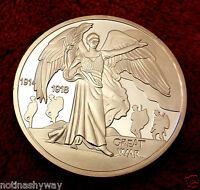 Silver World War I Coin Angel 1914 1918 Great Soldiers Man Angel V II U C Retro