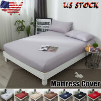 US Protector Elastic Pure Waterproof Cotton Mattress Cover Bed  Full Queen King
