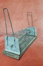 Unusual Vintage Humane Double Mouse trap in wood & wire