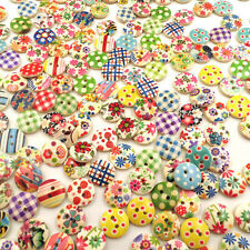 100x/Lot 15mm Round Multiple Pattern 2 Holes Wood Buttons Sewing Scrapbooking