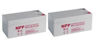 NPP 12V 3.3Ah 12Volt 3.3Amp SLA Rechargeable Battery Replace RBC35 WP3-12 / 2pcs
