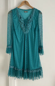 Filo Ladies Aqua Green Lace Overlay Dress. Hard To Photo! Size 14 Collect Or Pos