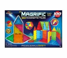 New 100-Piece Magrific Educational Stem 3D Shapes Magnetic Tiles Building Set