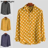 Men's Long Sleeve Shirt Polka Dot Collar Party Hippy Causal Slim Fit Blouse Top