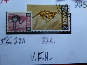 KENYA CHEETAH & OSTRICH STAMPS  SG28A-32A ALL V.F.U.