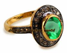 Victorian 0.58cts Rose Cut Diamond Emerald Studded Silver Wedding Ring Jewelry