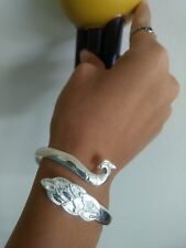 Peacock Silver  Bangle Bracelet,, bridesmaids gifts bridesmaid bracelet