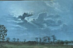 20th C Gouache . Landscape Scene In Twilight. Signed Indistinctly