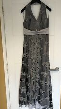 Vienna Collection Black & Silver Floral Glitter Halterneck Dress Prom Occasion