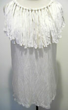 LANVIN Womens White Tan 100% Viscose  Fringe Sleeveless Top Blouse M