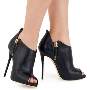 Women Peep Toe High Heel Ankle Boots Black Booties Zipshoes Nightclub Stiletto