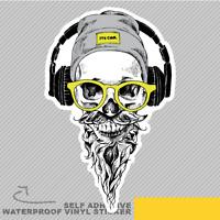 Beard Skull Moustache Hipster Glass Vinyl Sticker Decal Window Car Van Bike 2854