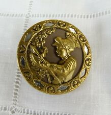 Large Antique Metal Picture/Story Button Knight Suit Of Armor w elaborate border