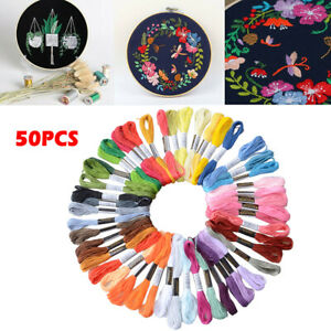 Lot 50 Multi Colors Cross Stitch Floss Cotton Thread Embroidery Sewing Skeins