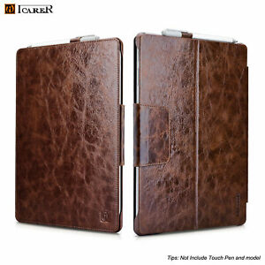 ICARER For Microsoft Surface Pro 4 5th 6 Genuine Real Leather Folio Case Cover