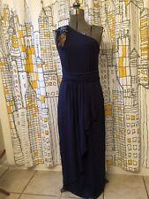 Macys Matthew Williamson One Shoulder Long Navy Blue Star Detail Dress 6